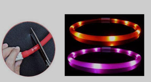 flashing dog collars with cut line