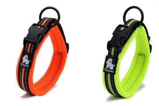 reflective dog collars in green and orange
