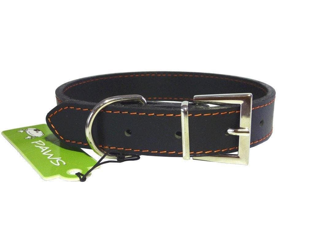 Genuine Leather Dog Collar | Top Grain | Black Brown White