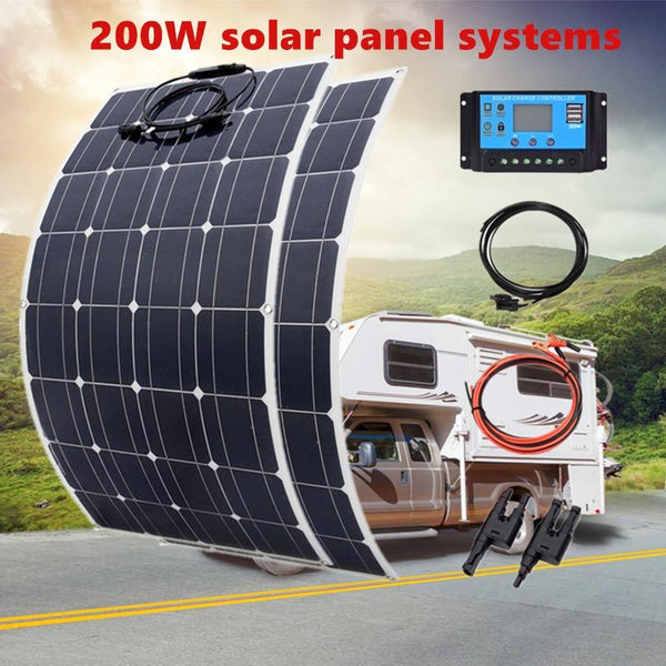 Flexible Solar Panel 200W 100W Mono 20A/10A Solar Controller Module for Car RV Boat Home Roof Vans Camping 12V 24V Solar Battery - 54 Energy - Renewable Energy Store