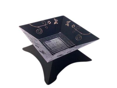 The Butterfly Fire Pit Black 80cm with Lid