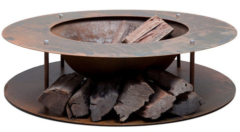 wood store fire pit cast iron bowl 15m rust