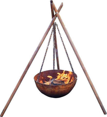The Tripod Fire Pit - Cast Iron - 80cm - Rust - Fire Pits Direct