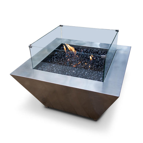 Gas Fire Pit – Square – Stainless Steel – 1m