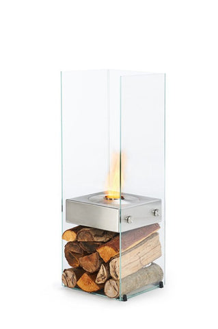 Ghost Ethanol Burner Designer Fireplace - 1.1m - Toughened Glass/ Stainless Steel