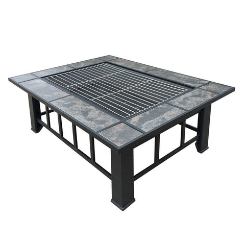 Outdoor Fire Pit BBQ Table Grill Fireplace Rectangle - Fire Pits Direct