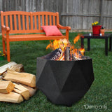 Octagon Lightweight Concrete Fire Pit Black