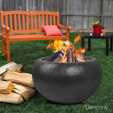Oval Lightweight Concrete Fire Pit Black