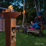 Outdoor Cast Iron Tall Fire Pit & Wood Storage - 60cm dia
