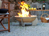 Feurio Brazier Fire Pit - 65cm Dia - Denk Ceramic - Stainless Steel Stand