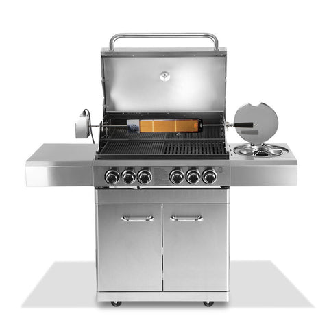Stainless Steel 6 Burner Gas BBQ Grill 1.5m & Rotisserie