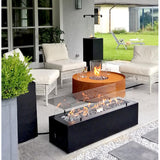Galio Linear Gas Fire Pit Black Automatic