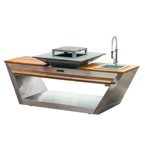 Quan Rolling Kitchen Wood Fired BBQ Silver with Wash Basin