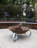 Ring Bowl Cast Iron Fire Pit & Round Base 78cm & 100cm by Entanglements