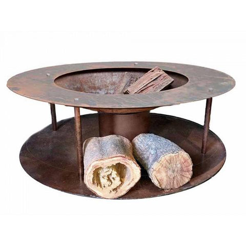 Wood Store Fire Pit Small - Cast Iron Bowl - 1.2m - Rust