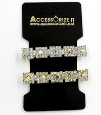 Pair of little square shaped rhinestones hair clip / barrette.