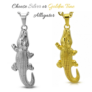 Stainless Steel Alligator Pendant and Necklace