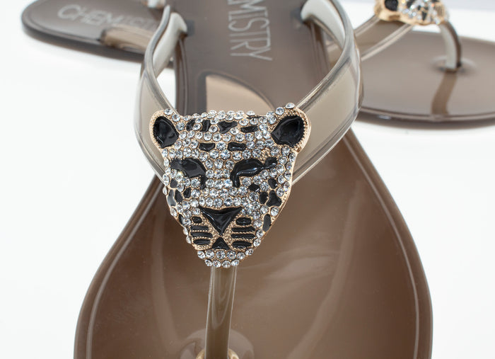 Ash Color Flip Flop Summer Sandals Jelly with Golden Leopard Concho Waterproof Sandals.