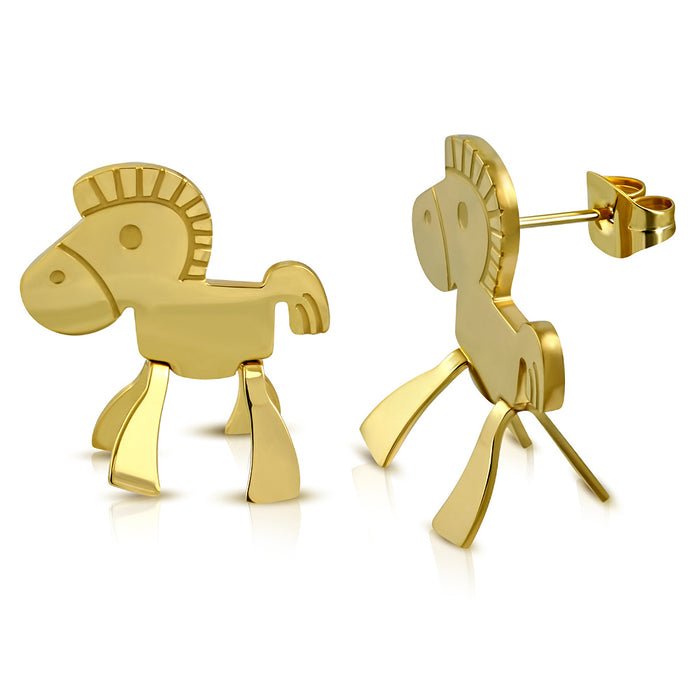 Golden Tone Plated Stainless Steel Zebra Stud Earrings for Girls