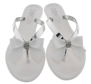 Flip Flop Sandals Jelly with bow. White Color. Waterproof Sandals For Summer, Beach, pool, etc.