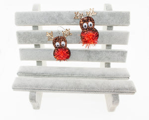 Handmade Brown Glitter Reindeer Christmas Earrings with Pom Pom Fluffy nose.