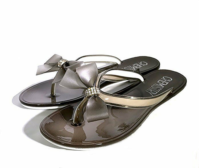Flip Flop Summer Sandals Jelly with bow. ASH color, Beach Sandals, Women Sandals. Great for monogramming.