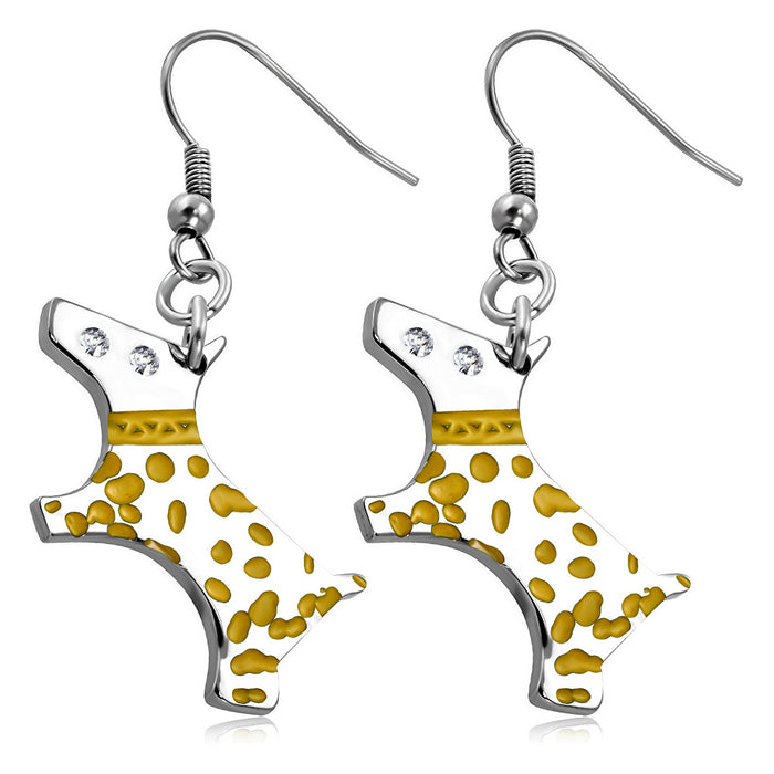 Stainless Steel Puppy dog Charm with yellow enamel spots. Drop Earrings