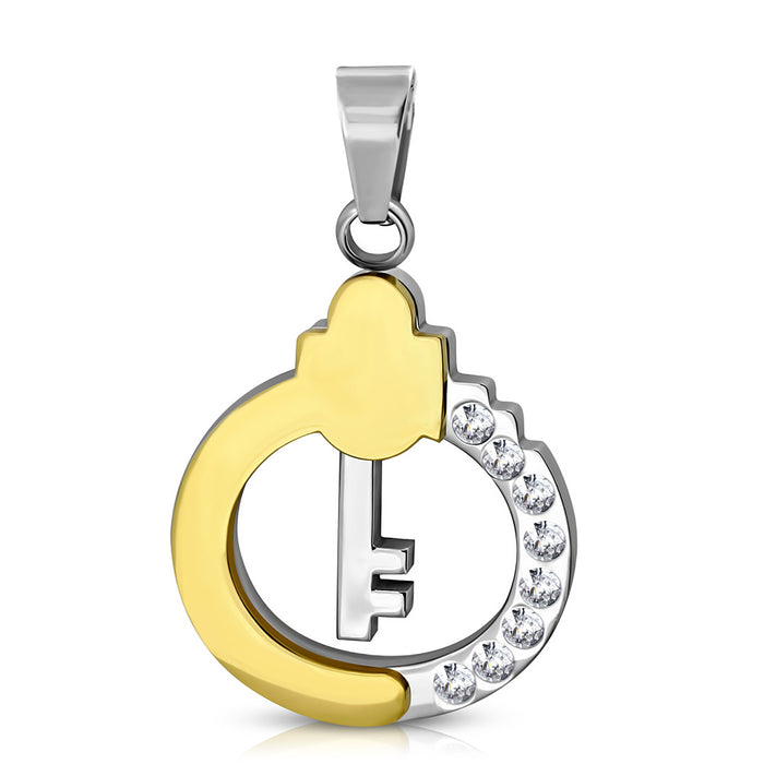 Stainless Steel key circle charm Pendant necklace