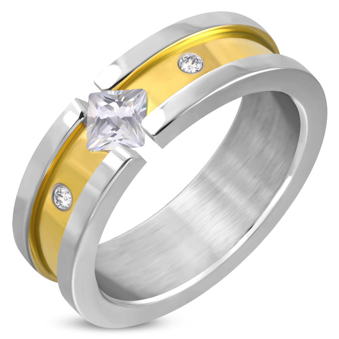 High Quality Stainless Steel 2 Tones Band Ring with Diamond Shape Rhinestone in the middle