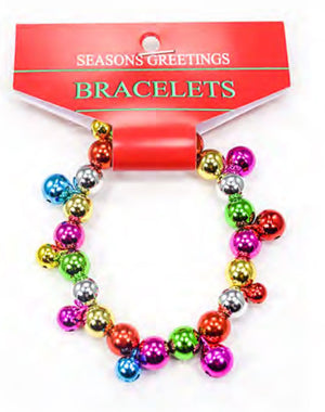 Lot of 10 Christmas Stretch beaded Bracelets with colorful jingle bells.