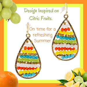 Handmade Earrings. Wire wrapped with colorful Seed beads on a golden base metal.