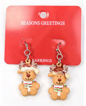 Handmade Reindeer Christmas Earrings. Reindeer with hat and scarf drop earrings for girls and women