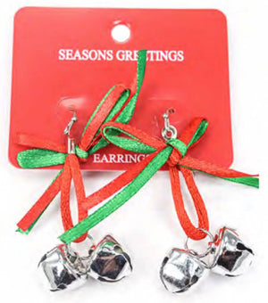 Cute and Delicate Silver Jingle bells with a mix of red and green satin ribbon bow.