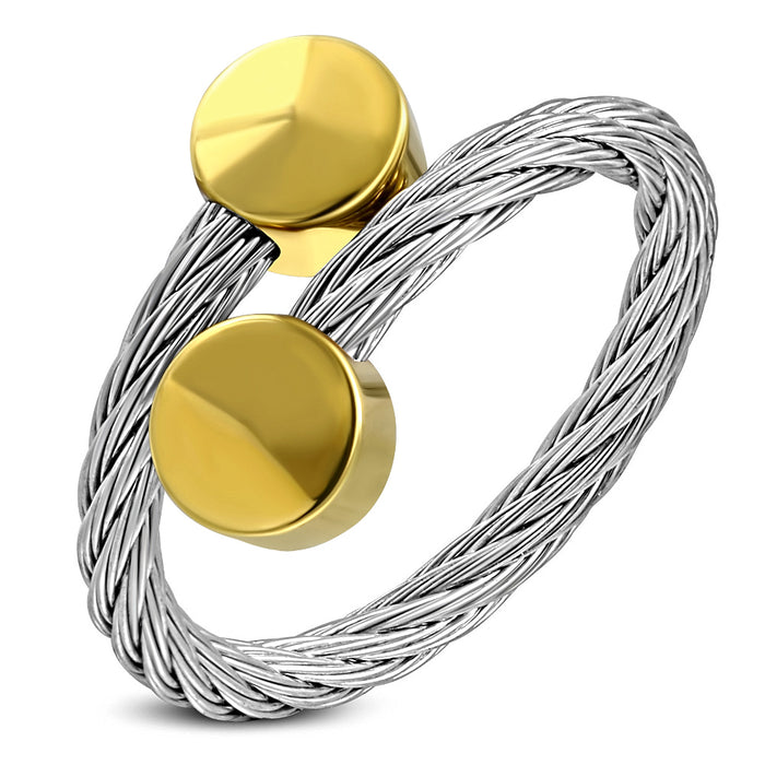 Stainless Steel 2-tone Celtic Twisted Torc Cuff Ring with golden alloy end cap round shape