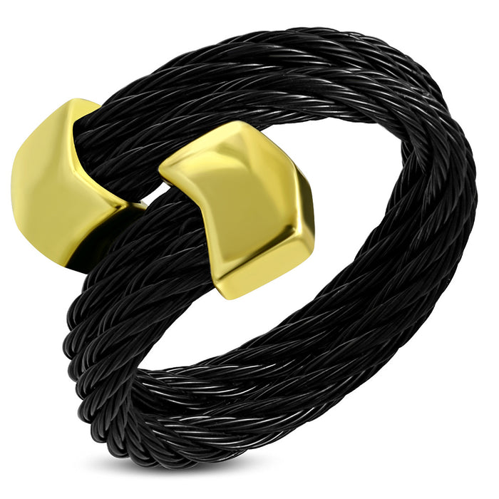 Black Stainless Steel Twisted Ring with alloy arrow shape end cap in Golden Tone