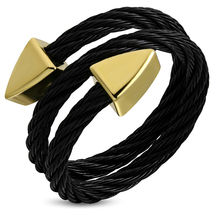 Black Stainless Steel 2-tone Celtic Twisted Torc Cuff Ring with golden alloy end cap Arrow shape