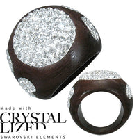 Fashion Ebony Wood Ring dome shape with hearts and ovals inlaid with clear cristal swaroski elements