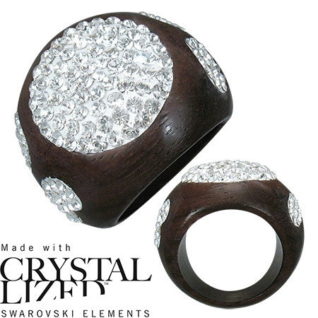 Ebony Wood Ring dome shape with hearts, ovals and round shapes inlaid with clear crystal swarovski