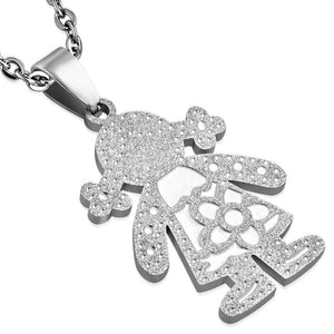 Stainless Steel Sandblasted Flower school girl Pendant with Box Link Chain