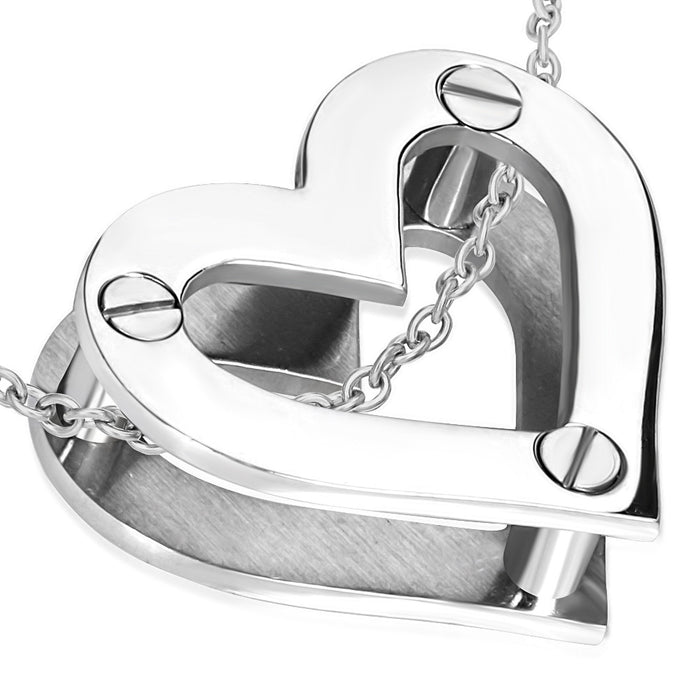 Stainless Steel Screw Open Love Heart Pendant with Venetian Box Link Chain