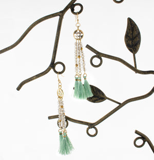 Handmade Dangle Earrings with glass Seed Beads and Turquoise tassels.