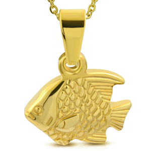 Golden tone Stainless Steel Chubby Fish Pendant Necklace.