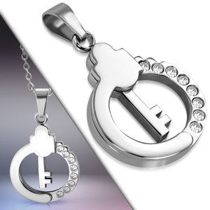 Stainless Steel key circle charm Pendant necklace. 2-Tones