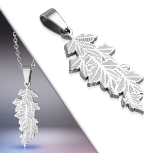 Stainless Steel Leaf Charm Pendant with Venetian Box Link Chain