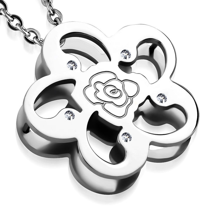 Stainless Steel Cut-Out Rose Flower Charm Pendant with Venetian Box Link Chain