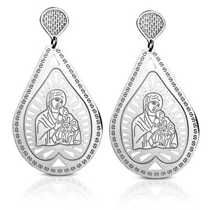 Stainless Steel Religious Christian Virgin Mary with Baby Jesus Teardrop Earrings