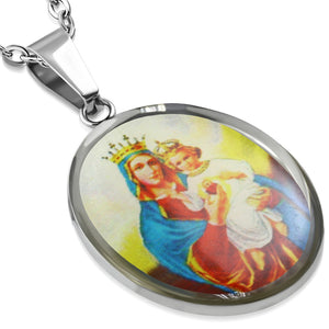 Stainless Steel Virgin Mary with Jesus Oval Religious Christian Pendant with Chain.