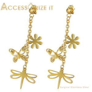 Flower Butterfly drop earrings. Golden tone plated Stainless Steel.