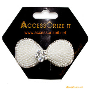Hair Clip with a Flower surrounded by Faux-Pearl and mini rhinestones Hair clip.