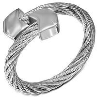 Stainless Steel Celtic Twisted Torc Cuff Ring with alloy arrow shape end cap